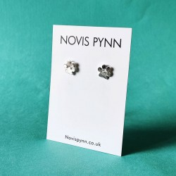 Silver Dog Paw Earrings