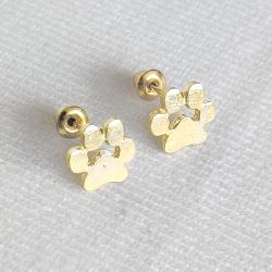 Gold Dog Paw Earrings